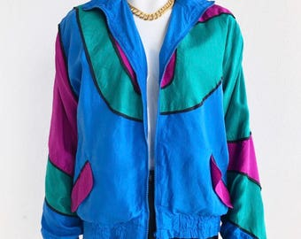 Vintage Abstract Silk Track Jacket