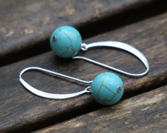 Turquoise Earrings, Turquoise Dangle, Gemstone Earrings, Sterling Silver Earrings, Everyday Turquoise, Turquoise Jewelry