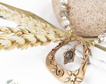 "Necklace Labradorite ""Vahalla"" / Bronze clay / Leaf & Flower / Nordic / Viking / Art Clay / Metal Clay / Nature chic"