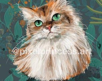Persian Cat Portrait Art