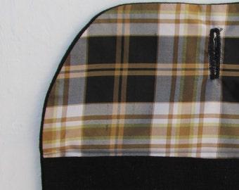 Black Linen Envelope Organizer / Vintage Look/ Travel Bag