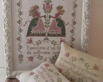 INSTANT DOWNLOAD Il Fiore dell'Amicizia Flower of Friendship PDF cross stitch patterns by Cuore e Batticuore e-pattern Valentine's Day