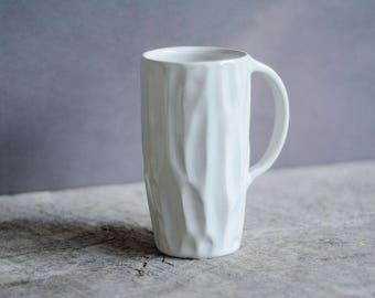 White Ceramic Mug, Coffee Mug, Foodie Gift, Modern, Minimal, Gift For Mom, Housewarming Gift, Coffee Gift, Gift For Her, White Pottery Mug