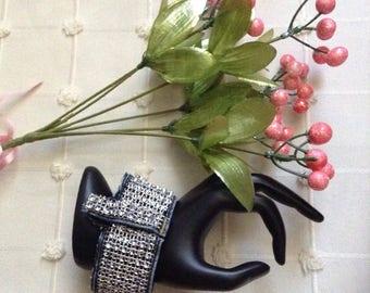 Handmade Bling Denim Cuff Bracelet