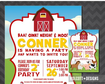 Farm birthday invitations, Farm invitation, Farm birthday party, Farm party, Barnyard birthday invitations, Barnyard invitation, Farmer