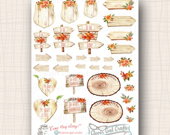 Autumn Floral & Wood Grain Planner Stickers | 32 Stickers Total | #SS13