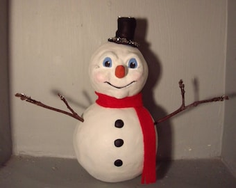 Original Paperclay Christmas Snowman Decoration OOAK Leanne Ellis