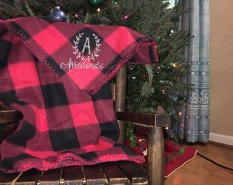 Bufalo Plaid Fleece Throw- personalized- stocking stuffer- Christmas Gift- blanket
