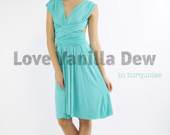 Bridesmaid Dress Infinity Dress Straight Hem Turquoise Knee Length Wrap Convertible Dress Wedding Dress