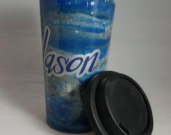 Blue swirls Jason stainless steel coffee cup