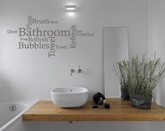 Bathroom Wall Quote - Word Cloud, Wall Art Sticker, Vinyl Decal, Modern  Transfer