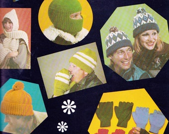 40 Patterns for Hats Caps Scarves Gloves and Mittens 1970s Vintage Knitting & Crochet Patterns Book Patons 483 Winter Warmers