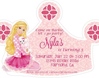 barbie invitation die cut  birthday invitation  heavy cardstock or digital