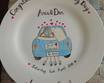 Personalised Wedding Plate for the Bride and Groom.Wedding Anniversary gift. A unique handmade gift for the Mr and Mrs. Wall mount included.