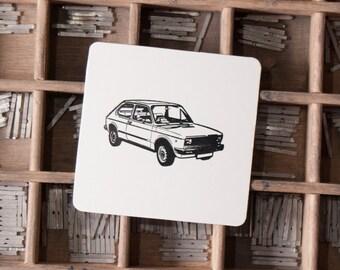 Pack 25 Letterpress Classic Cars Coasters Seat 127