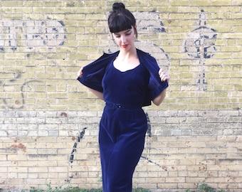 AMAZING 1940's Royal Blue Velvet 3-Piece By Jonathan Logan