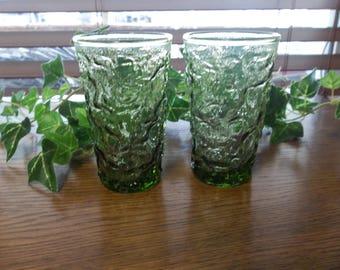 Avocado Green Anchor Hocking Crinkle Juice Glasses, 70's