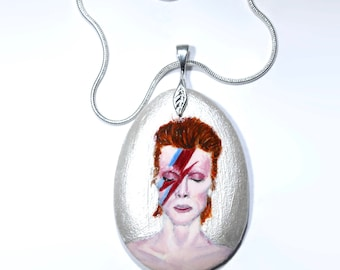 Hand-Painted David Bowie necklace