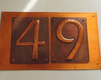 Copper Number, House Number, Copper Front Door Number, rustic copper signs, Copper sign, made to order