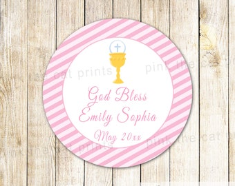 Pink Stripes First Communion Thank You Label - Custom Girl First Holy Communion Printable Favor Label Party Favor Tag Girl Communion Sticker