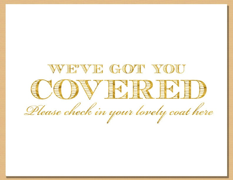 Gold Shimmer Printable Coat Check Sign And Hang Your