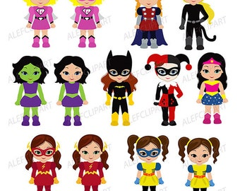 Supergirls, Superhero Clipart Girls Bundle Superhero Girls Supergirl  Superheroes Clipart For personal and Commercial Use