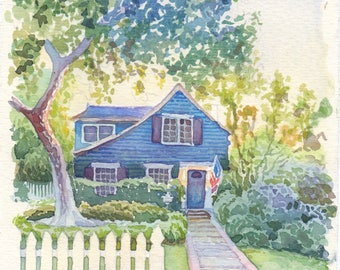 House portrait Custom watercolor home painting from photo Personalize Wedding Venue drawing First house illustration Realtor closing gift