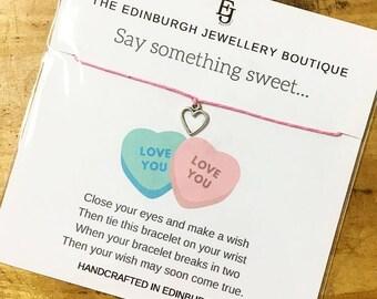 Valentine's Love Heart Wish Bracelet