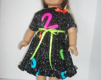 American Girl, 18 Inch Doll Black Neon Dress & Accessories