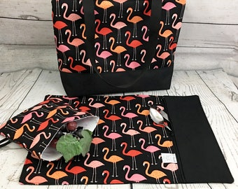 lunch bag  flamingo  insulated and waterproof lunch bag, flamingo pattern, lunch box, school lunch tote, flamingo lunch bag