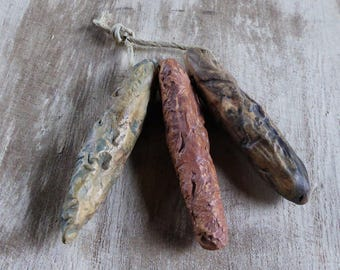 Ancient pods - Artisan made ceramic beads - Set of 3 - High Fired - Artifacts - Textured - Unique