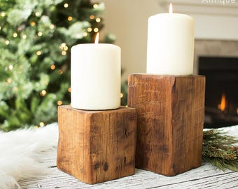Wood Candle Stand - Coffee Table Candles, Rustic, Farmhouse, Modern Candle Holders, Minimalist Chunky Pillar Candle Stand, Dining Table