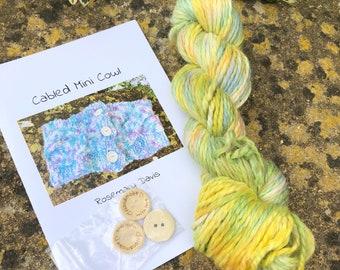 100grms hand dyed baby alpaca chunky yarn  cowl kit