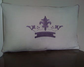 Ecru Piped Linen Embroidered Crown oblong Cushion Pillow cover