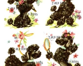 Retro 1950s Frenchie French Poodles Waterslide Decal Set