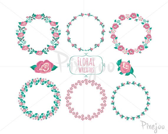 6 Wreath Flower Cliparts // Vector And PNG // Instant Download