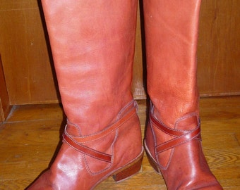 Vintage Tall Brown Leather Riding Boots by Zodiac USA Women's Size 8M