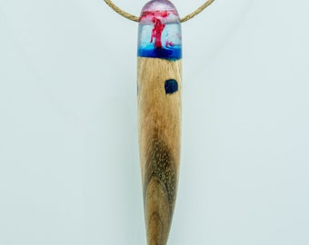 Wood, resin and hemp pendant