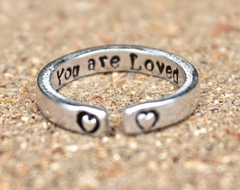 You are Loved, Mantra Ring, Inspirational Ring, Adjustable Ring, Mantra Rings, Inspiration Jewelry, You're Loved Ring, Heart Ring, Mantras