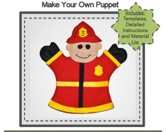 PDF Template Download - Fireman Hand Puppet