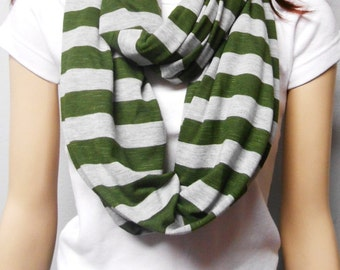 OLIVE  Green & Gray Stripes  Infinity Scarf Super Soft Knit