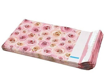 TAX SEASON Stock up 25 Pack Tear Proof Rose Floral Design Plastic Poly Mailing Self Stick Closing Envelopes  6X9 Inches