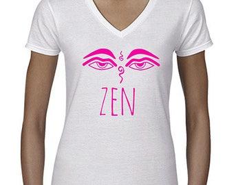 """t-shirt femme blanc """"zen"""" symbole bouddhiste."""