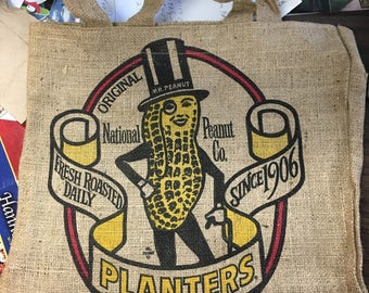 Planters Peanuts Advertising Burlap Gunny Large Sack