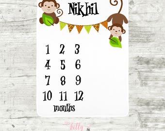 Monkey Baby Boy Blanket, Baby Boy Milestone Blanket, Personalized Baby Blankie, Monthly Baby Blanket, Baby Boy Blanket, Baby Boy Jungle