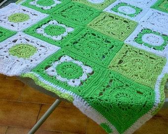 White Green baby blanket crochet blanket