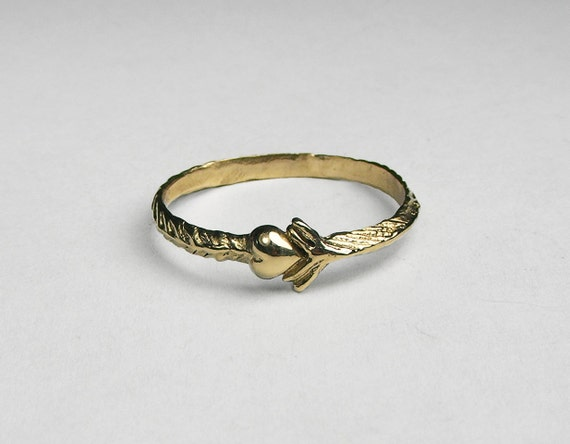 Solid Gold Arrow Heart Ring
