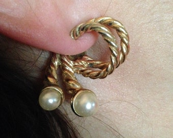Vintage Faux Pearl Costume Jewelry Clip On Earrings