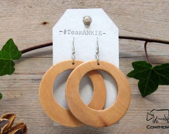 Wooden earring, Naturel, CowHow