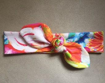 Summer In Bloom Top Knot, summer headband, baby top knot headband, toddler top knot headband, adult top knot headband, floral, vibrant